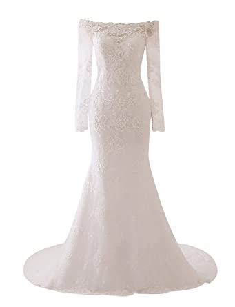 Erosebridal 2018 Lace Mermaid Wedding Dresses Long Sleeve Boat Neck ...