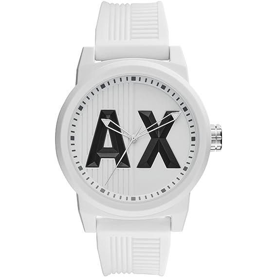 Armani Exchange Atlc - Reloj análogico de cuarzo con correa de silicona para hombre, color blanco: Amazon.es: Relojes