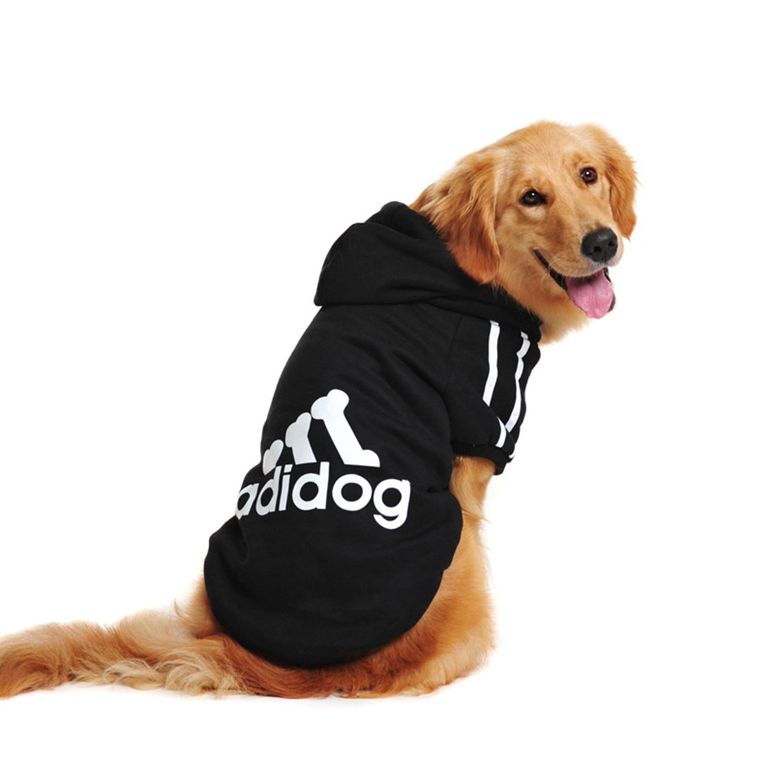 Idepet Spring Autumn Big Dog Clothes Coat Jacket Clothing for Dogs Large Size Golden Retriever Labrador 3XL-9XL Adidog Hoodie (Black, 7XL)