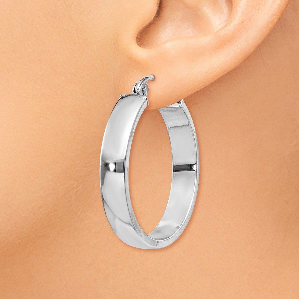 Mia Diamonds 14k White Gold Polished Hoop Earring