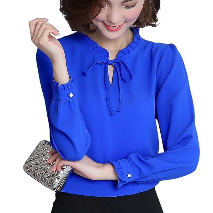 Moda Camisa Mujer Cuello Colmena Manga Larga Gasa Elegante Color Sólido Camisetas Casual Loose Shirt Otoño