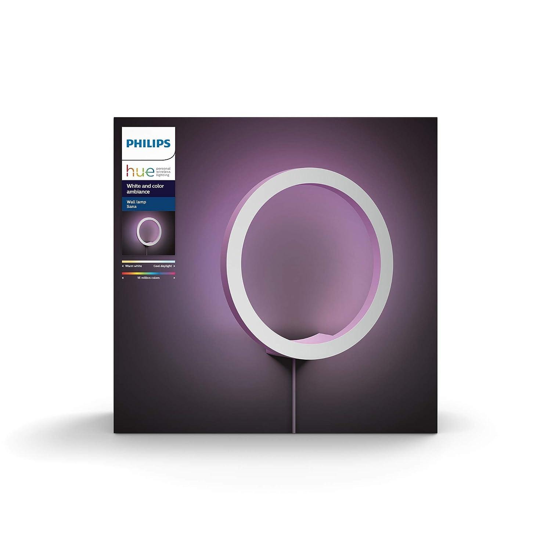 Philips Hue Sana - Aplique Redondo con LED Integrado en Aluminio, luz de ambiente blanca y de Colores, Iluminación inteligente, compatible con Amazon ...