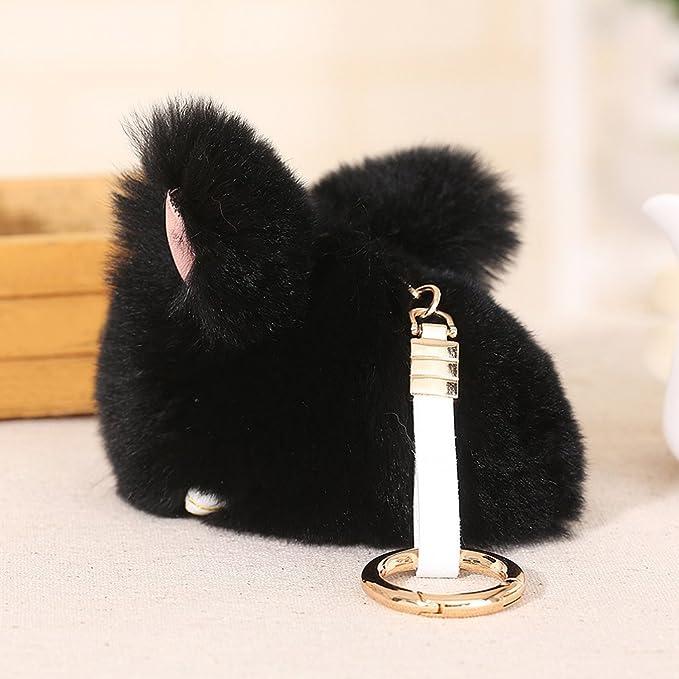 Amazon.com: baobao conejo Rex Rabbit Fur Pompom Ball muñeca ...