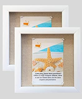 """product image for flag connections (2-Pack) 8""""x8"""" White Display Shadow Box Frame w/Linen Background and 16 Stick Pins - Ready to Hang Shadowbox Picture Frame"""