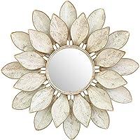 Cqing Espejo de Pared de Metal con Flor