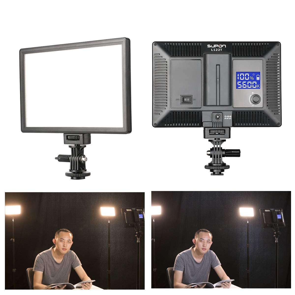 SUPON LED-L122T RA CRI95 Super Slim LCD Display Lighting Panel,Portable Dimmable 3300K-5600K LED Video Light Compatible for Canon,Nikon,Pentax,Fuji,Sony,Olympus DSLR Cameras,DV Camcorder by SUPON