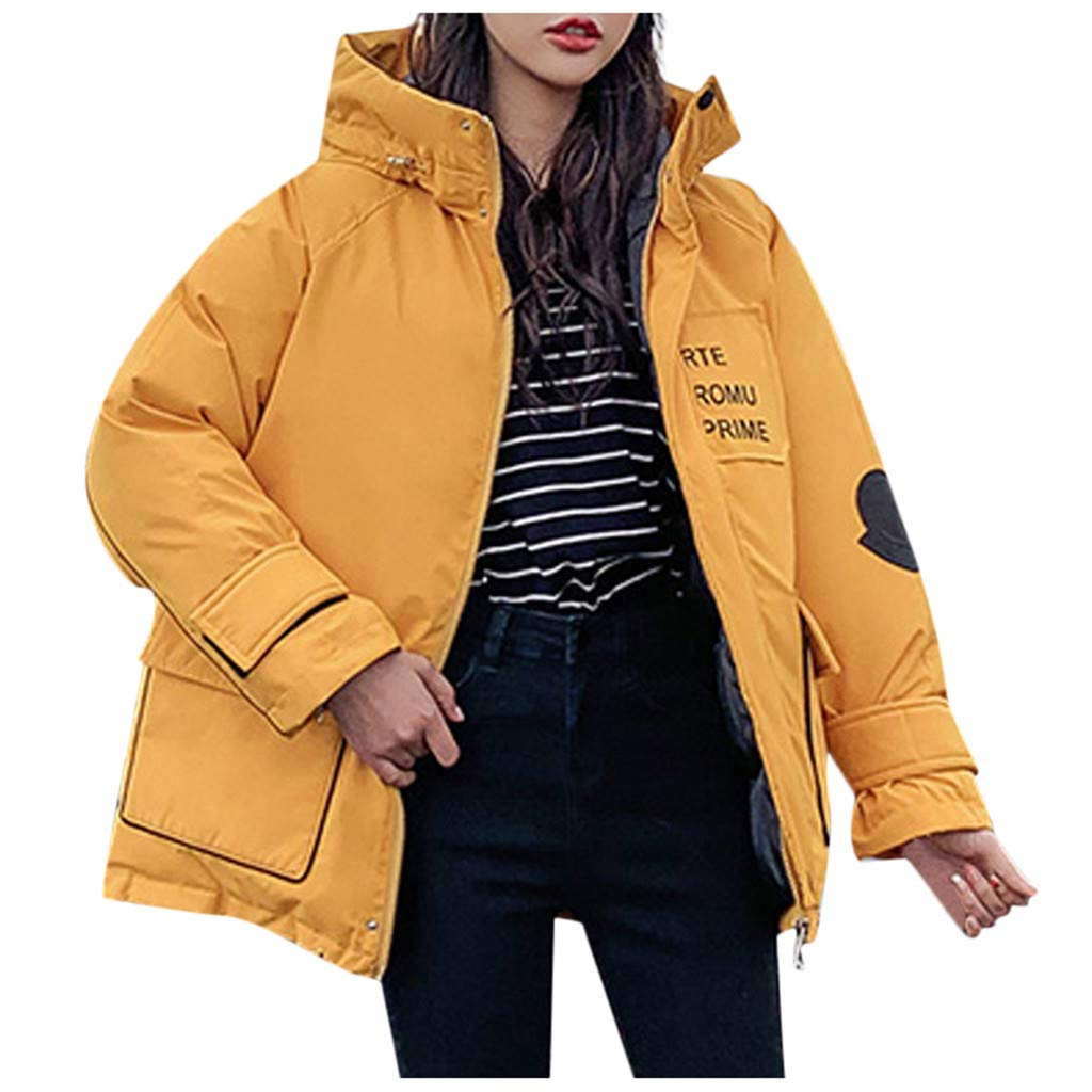 HCFKJ Women Tops Faux Fur with Cap Button Long Solid Jackets Pocket Coats(Yellow,S) by HCFKJ