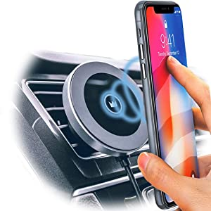 Magnet King Wireless Car Charger | Wireless Charging Mount | Qi-Lightning Fast Wireless Charging in Your Car & at Home | Compatible with iPhone X/XS/XR/8/8 Plus, Galaxy S10/S9/S9+/S8/S8+ and More