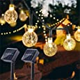 Solar Globe String Lights 30 LED 19.8ft Outdoor Crystal Ball Christmas Decoration Light Waterproof Solar Patio Lights Decorative Xmas Tree Garden Home Lawn Wedding Party Holiday (2PACK-Warm White)