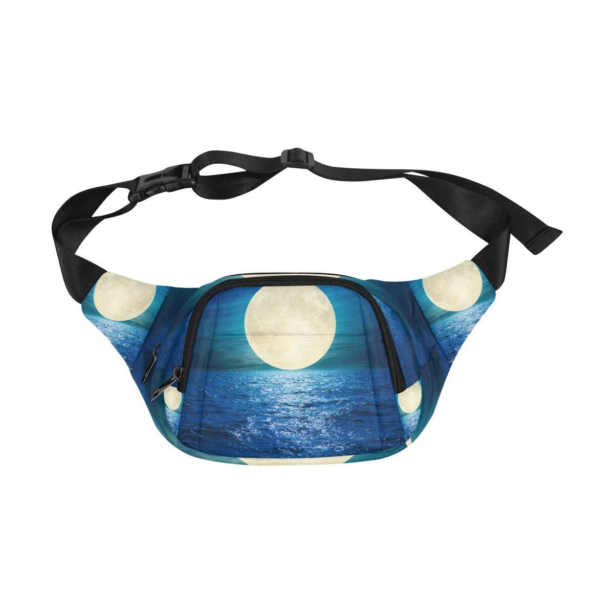 Super Full Moon At Night Over Ocean Fenny Packs Waist Bags Adjustable Belt Waterproof Nylon Travel Running Sport Vacation Party For Men Women Boys Girls Kids