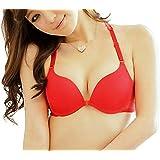 Florentyne Women's Poly Cotton Multipurpose Front-Closure Push-up Bra (Red, 32)