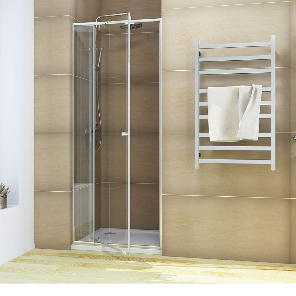 36'' W X 72'' H Pivot Shower Door Glass Swing Shower Screen Framed Shower Glass Panel Up to 4'' Adjustment Width, Chrome Finish
