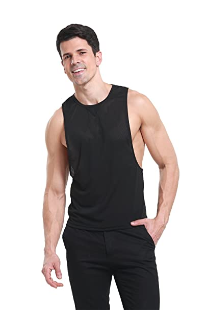 a768e3ff34abd iYunyi Men s Summer Loose Open Side Net Gym Tank Top Vest at Amazon ...