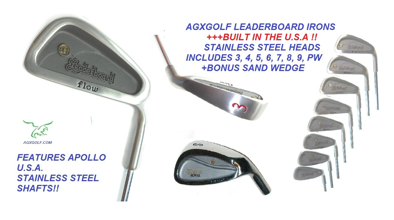 AGXGOLF Men's Senior Flex Leaderboard Wide Sole Stainless Steel Irons Set; 3-PW w/Free Sand Wedge Right Hand: Cadet, Regular or Tall Length Built in The U.S.A by AGXGOLF