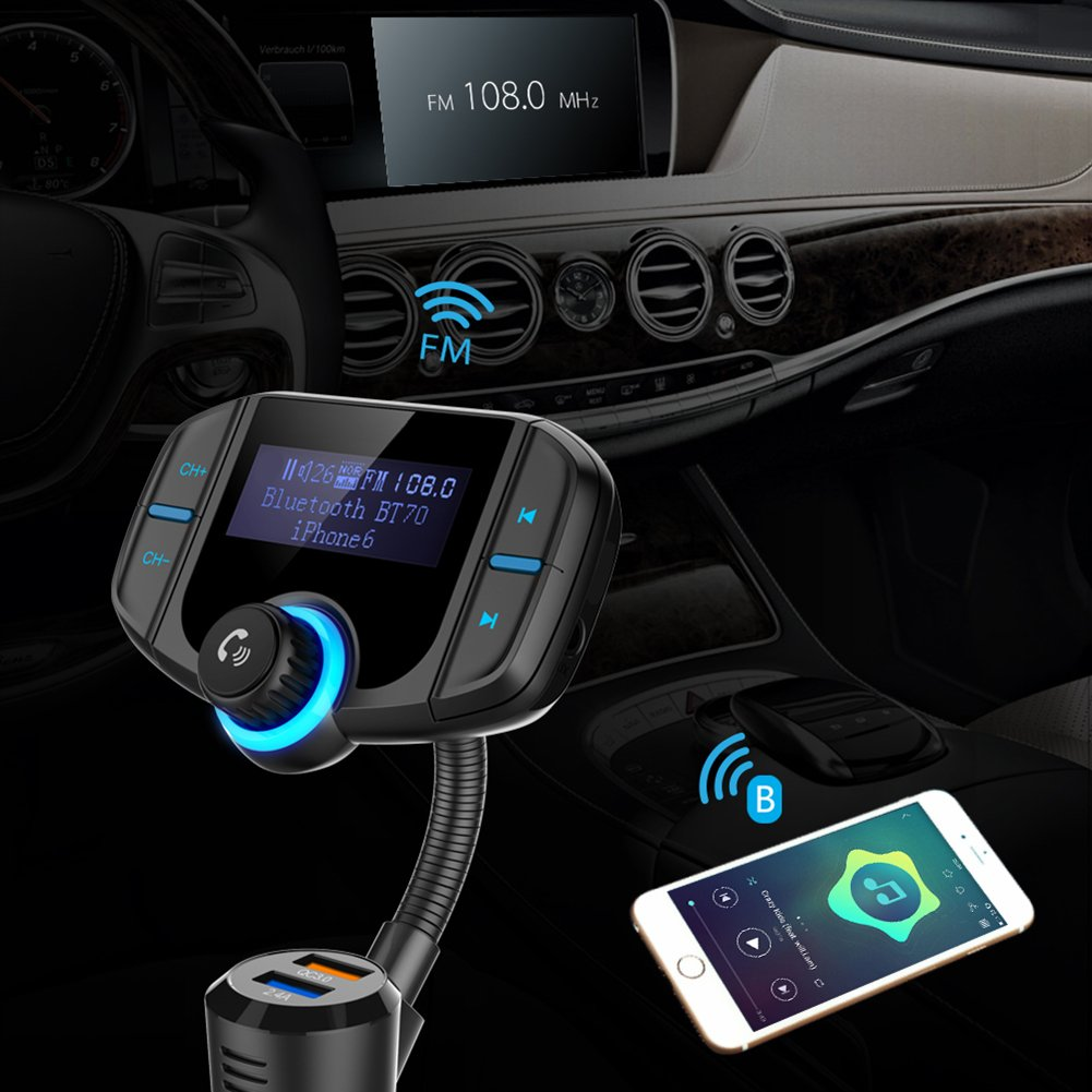 """Bluetooth FM Transmitter with Quick Charge 3.0, Wireless Car Radio Transmitter Kit with 1.7"""" LED Display, Dual USB Ports, compatible with iPhone, Samsung, etc, Hands Free Kit by Talent Star (Image #7)"""