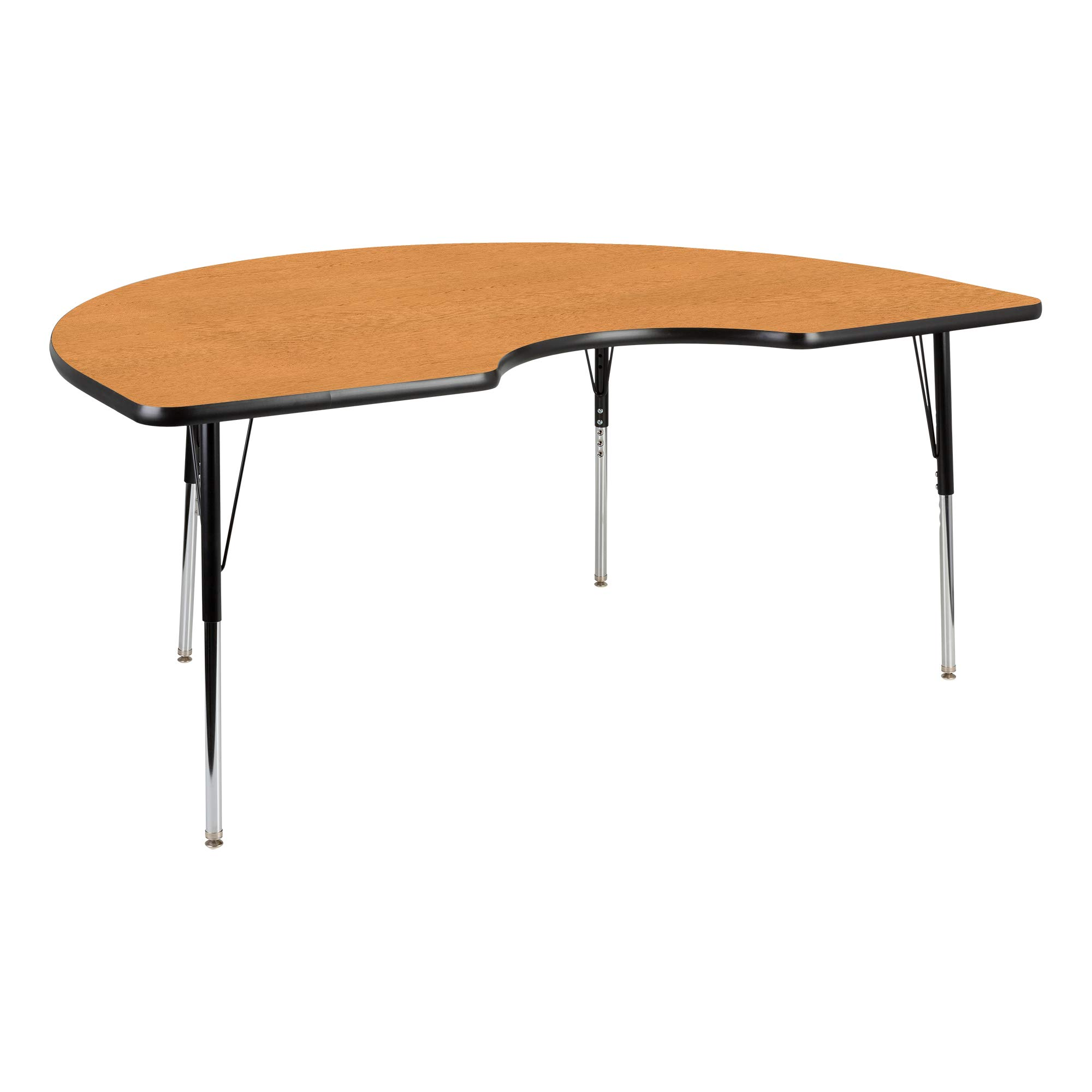 Kidney Adjustable Height School Classroom Activity Table - Oak Top/Black Edge