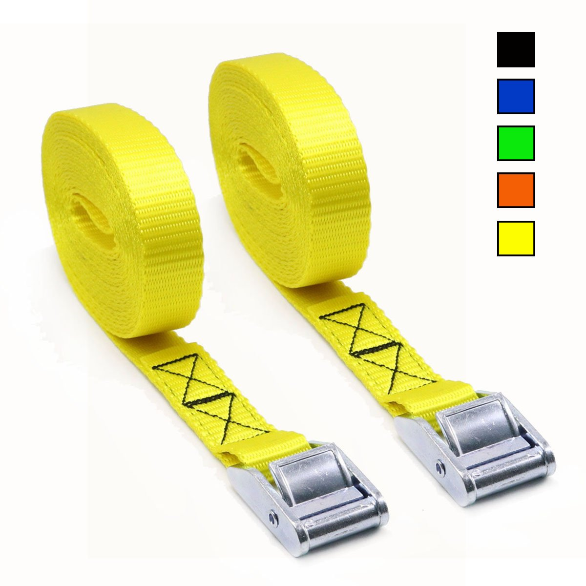 Xiangle Premium Cam Buckle Lashing Strap Tie Down Straps 8-foot-by-1-inch up to 1000lbs,2 Pack (16FT, 2pk Yellow)