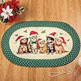 Collections Etc Christmas Santa Cats Accent Braided