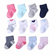 Mengna Unisex Newborn Baby Infant Cuff Cotton Looped Pile Socks 4/8 Pack (Multicolored 6-12 Months)