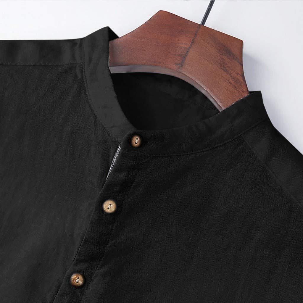 Camicia Lino Manica Corta Uomo Colletto Button Down Slim Fit Coreana Shirt Henley Coreana Spiaggia Estiva Tshirt,Italily Uomo Solido Taglia Grossa /Maglietta /Top Camicetta
