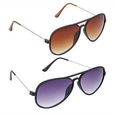 61782865d4a7 HRINKAR Aviator Brown Lens Brown Frame Sunglasses