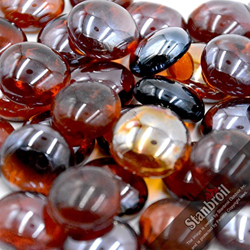 Stanbroil 10-Pound 1/2 Inch Fire Glass Drops for Fireplace Fire Pit, Amber Luster (Rocks Outdoor Pit Glass Propane With Fire)