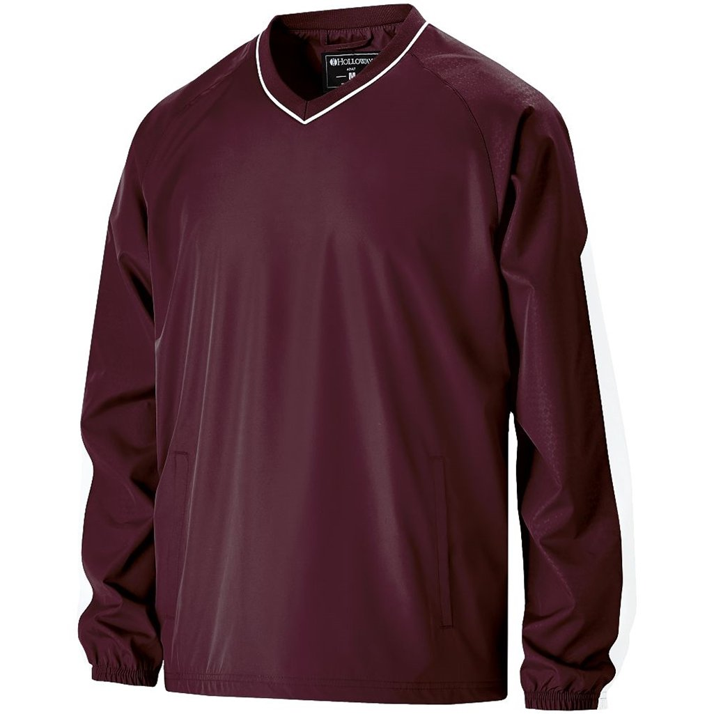 Holloway Youth Bionic Pullover Windshirt (Large, Maroon/White) by Holloway