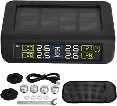 Black Digital Tire Pressure Monitor USB Car TPMS Tire Pressure Control System Real Time Displays with Four External for Most Vehicles
