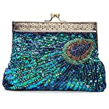 Baglamor Women's Unique Luxury Sequins Beaded Evening Bag Wedding Bridal Party Prom Clutch Handbag (Blue)