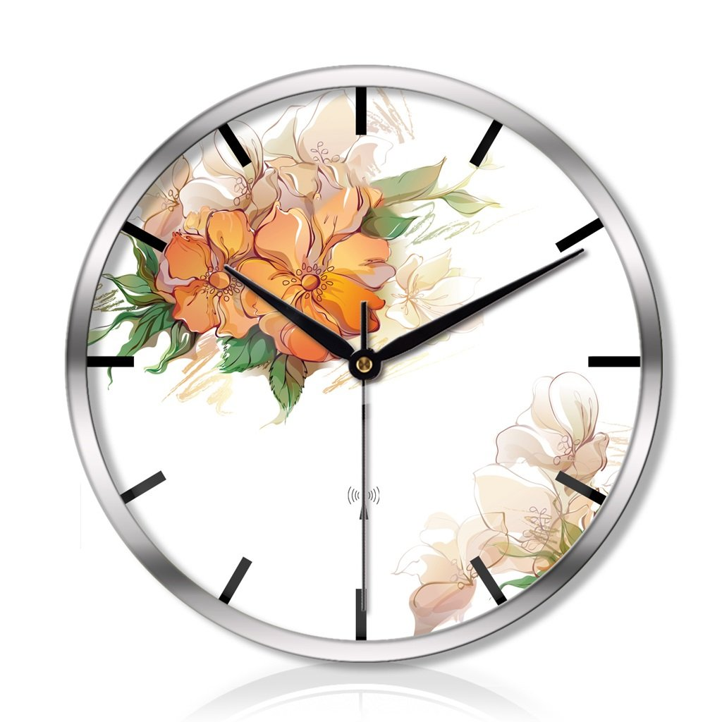 LINGZHIGAN リビングルームのベッドルームクリエイティブメタルウォールクロックサイレントスキャンスマート電気時計 (色 : シルバー しるば゜, サイズ さいず : 16 inches) B07FR8V2LC 16 inches|シルバー しるば゜ シルバー しるば゜ 16 inches