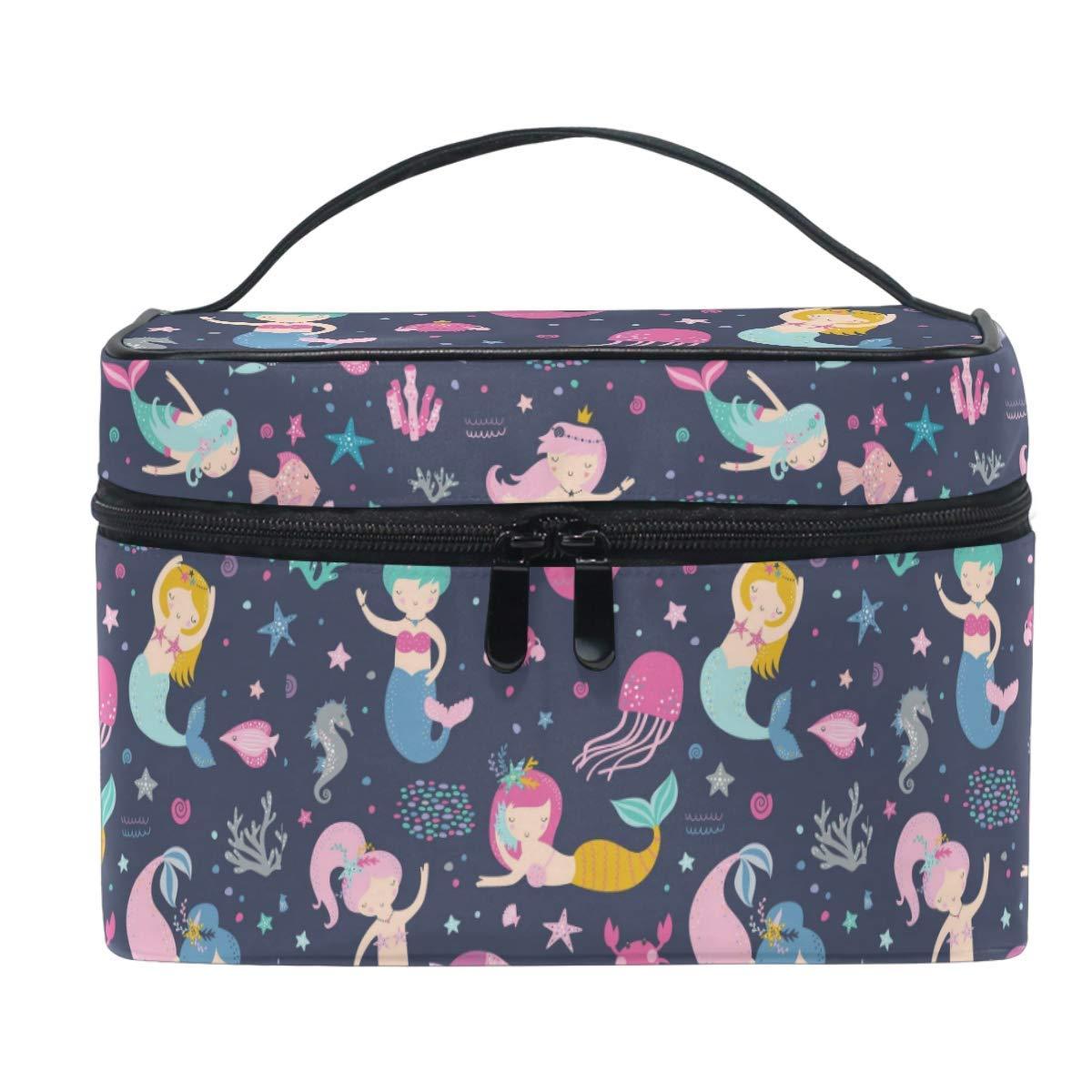 Cute Mermaids Makeup Bag Handbag Bag Cartoon Fish Jellyfish Cosmetic Bag Toiletry Travel Brush Train Case for Women Zip Carrying Portable Multifunctional Organizer Storage Pouch Bags Box