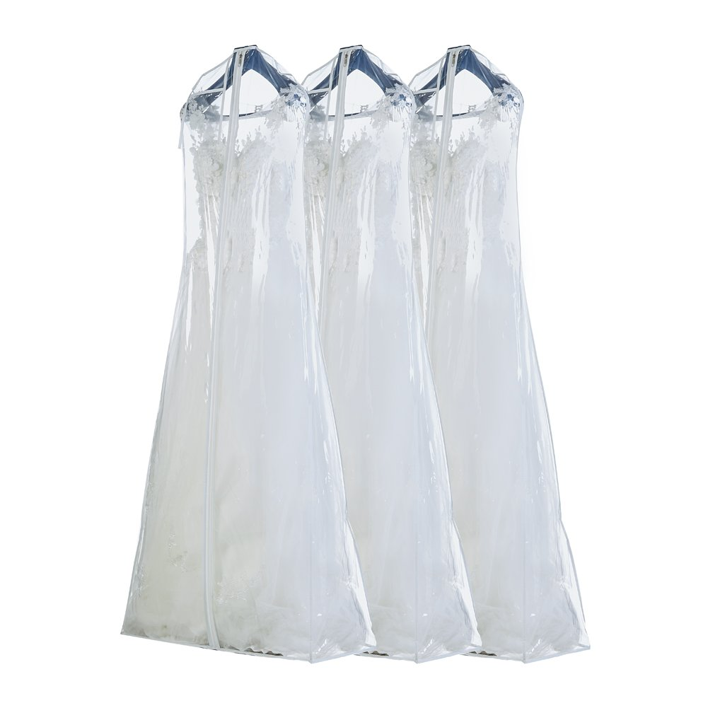 Semapak By FBA Pack of 3 X Large PVC garment Bag for Bridal Wedding Gown Dress, 63 Inches long with 12'' Gusset