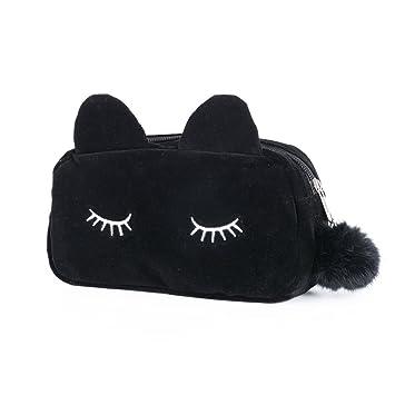 Bolsa de Maquillaje Neceser Estuche Maquillaje para Mujer Diseño Gato Negro 19 * 5 * 12 cm Organizador Cosmeticos para Viajes Vacaciones Camping: Amazon.es: ...