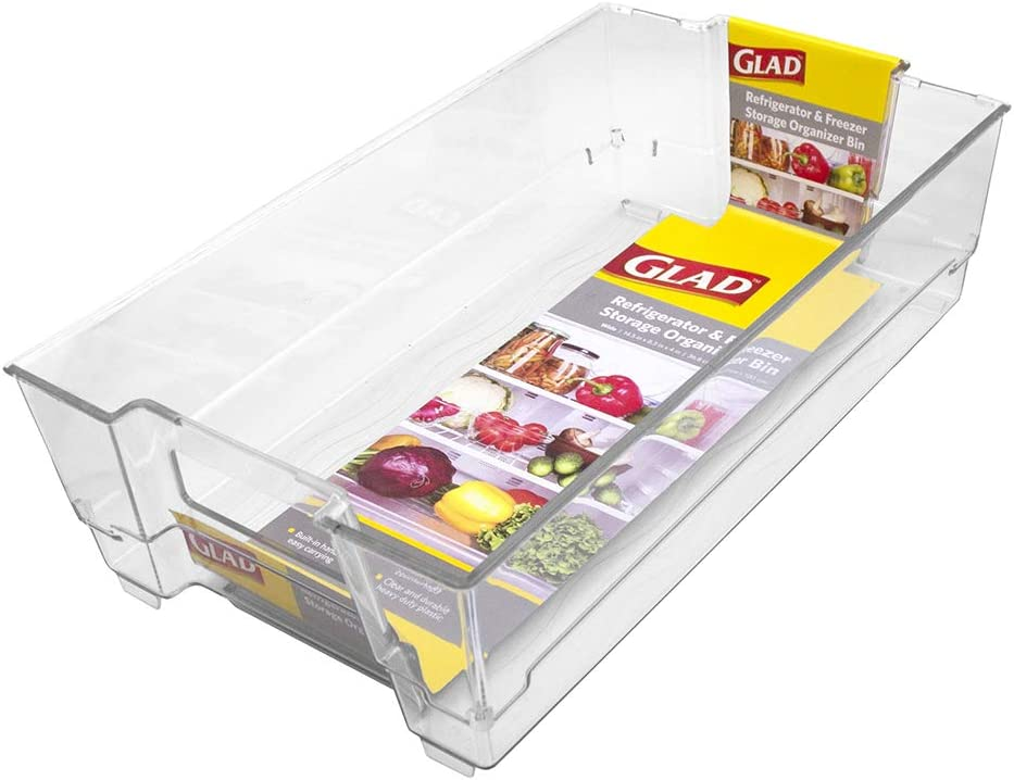 "GLAD GLD-75502 FREEZER CONTAINER AND REFRIGERATOR PANTRY ORGANIZATION AND ST Fridge & Freezer Org Bin 14.5X8.3X4In Clear, 14.5"" x 8.3"" x 4"""