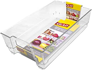 """GLAD GLD-75502 FREEZER CONTAINER AND REFRIGERATOR PANTRY ORGANIZATION AND ST Fridge & Freezer Org Bin 14.5X8.3X4In Clear, 14.5"""" x 8.3"""" x 4"""""""