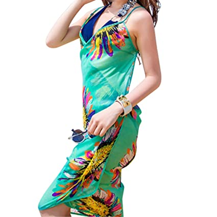97d1d9cce95a4 Amazon.com  Women Chiffon Bikini Scarf Sun Protection Sarong Wrap Dress  Beach Swimwear Cover Up Scarf Fashion Wild Shawl (Green)  Home   Kitchen