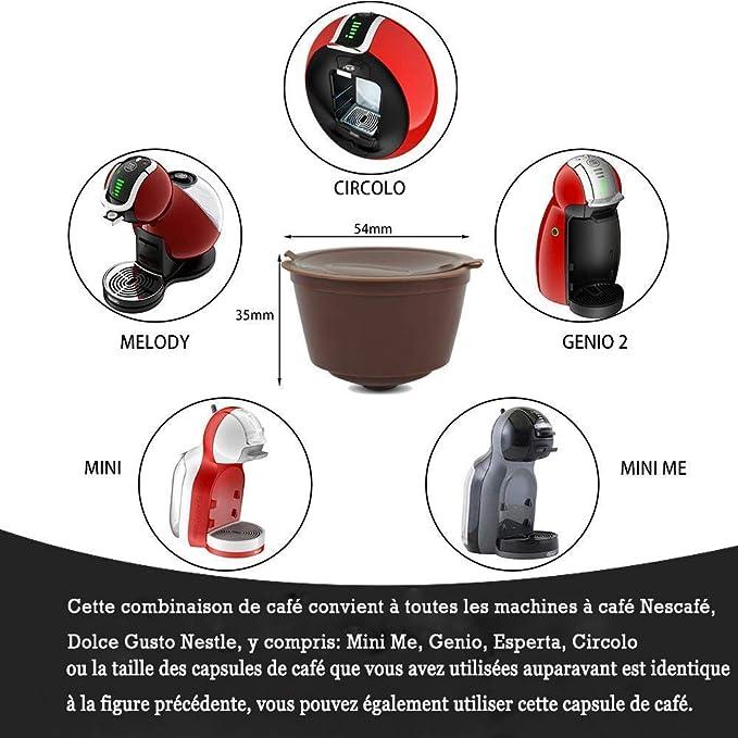 Poweka Dolce Gusto - Cápsulas de café reutilizables (6 unidades, incluye 1 cepillo de café y 1 cuchara, compatibles con Mini Me, Genio, Esperta, Piccolo y Circolo: Amazon.es: Hogar