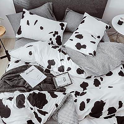 mixinni Black White Kids Duvet Cover Queen Cow Pattern Cotton Duvet Cover Set Modern Lightweight Plaid Bedding Set Zipper Closure 4 Corner Ties Teens Boys&Girls-Queen/Full Size: Home & Kitchen