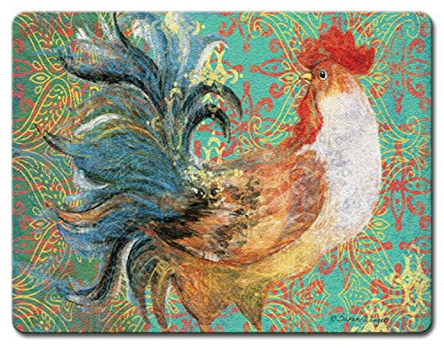 Fancy Pants Rooster Tempered Glass Large 15 Inch Kitchen Cutting Board