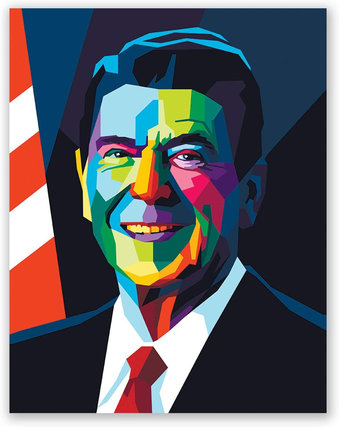 Ronald Reagan Poster - President Portrait Pop Art Style - Bedroom Home Wall Decor - Gift for Men Women (11x14)