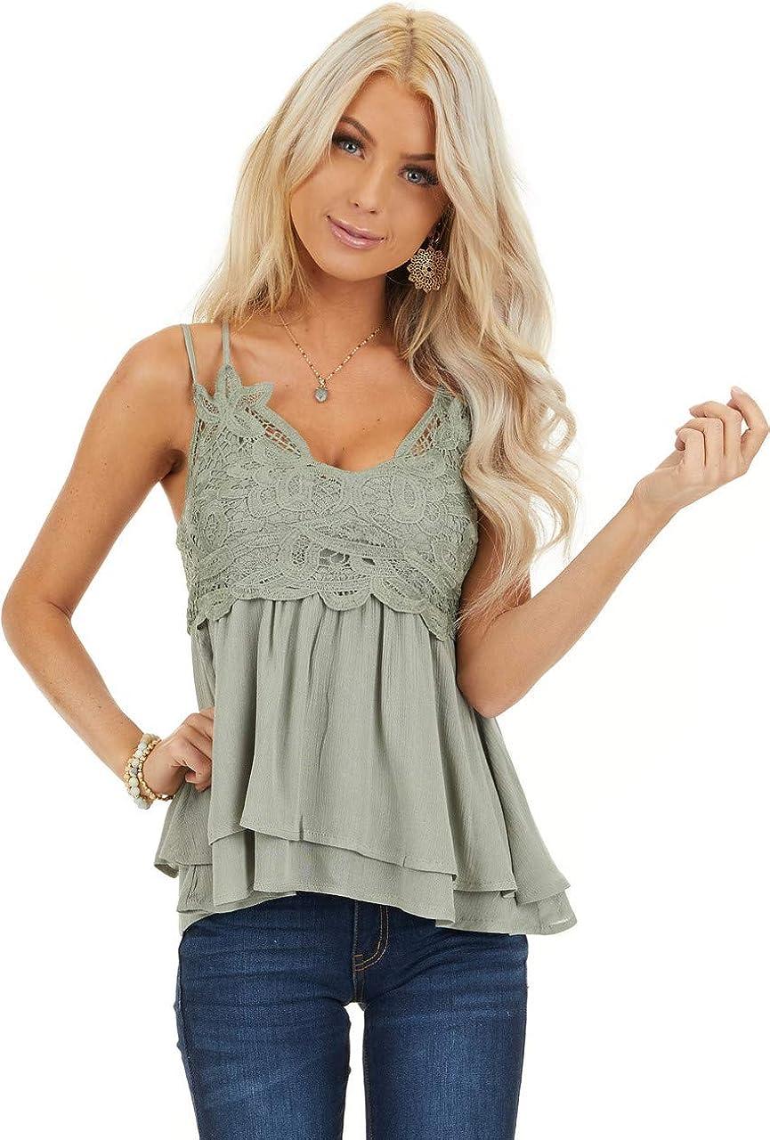 Feager Women Lace V Neck Chiffon Cami Tank Top Spaghetti Strap Sleeveless Shirts