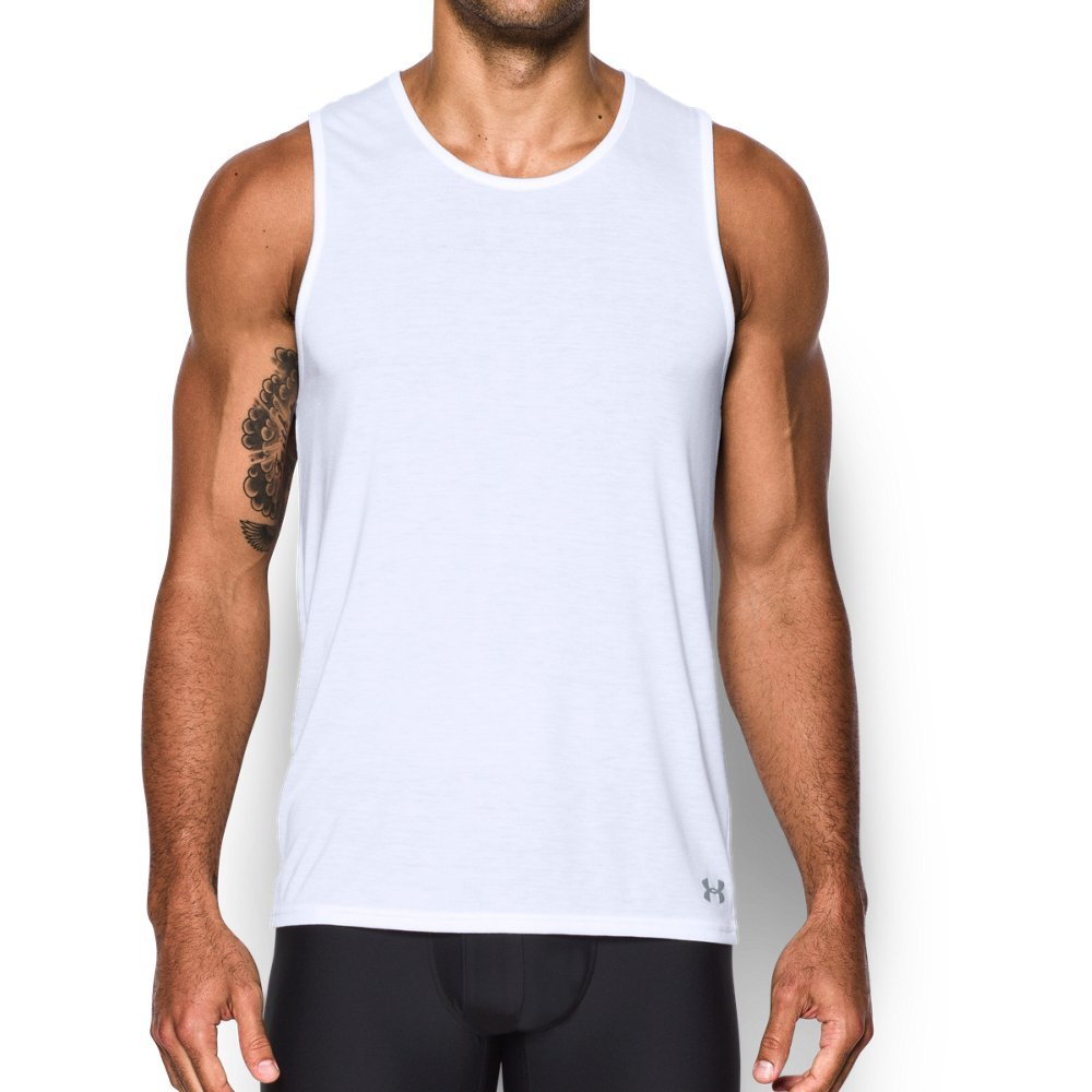 Under Armour Men's Core Tank, White/Steel, Small