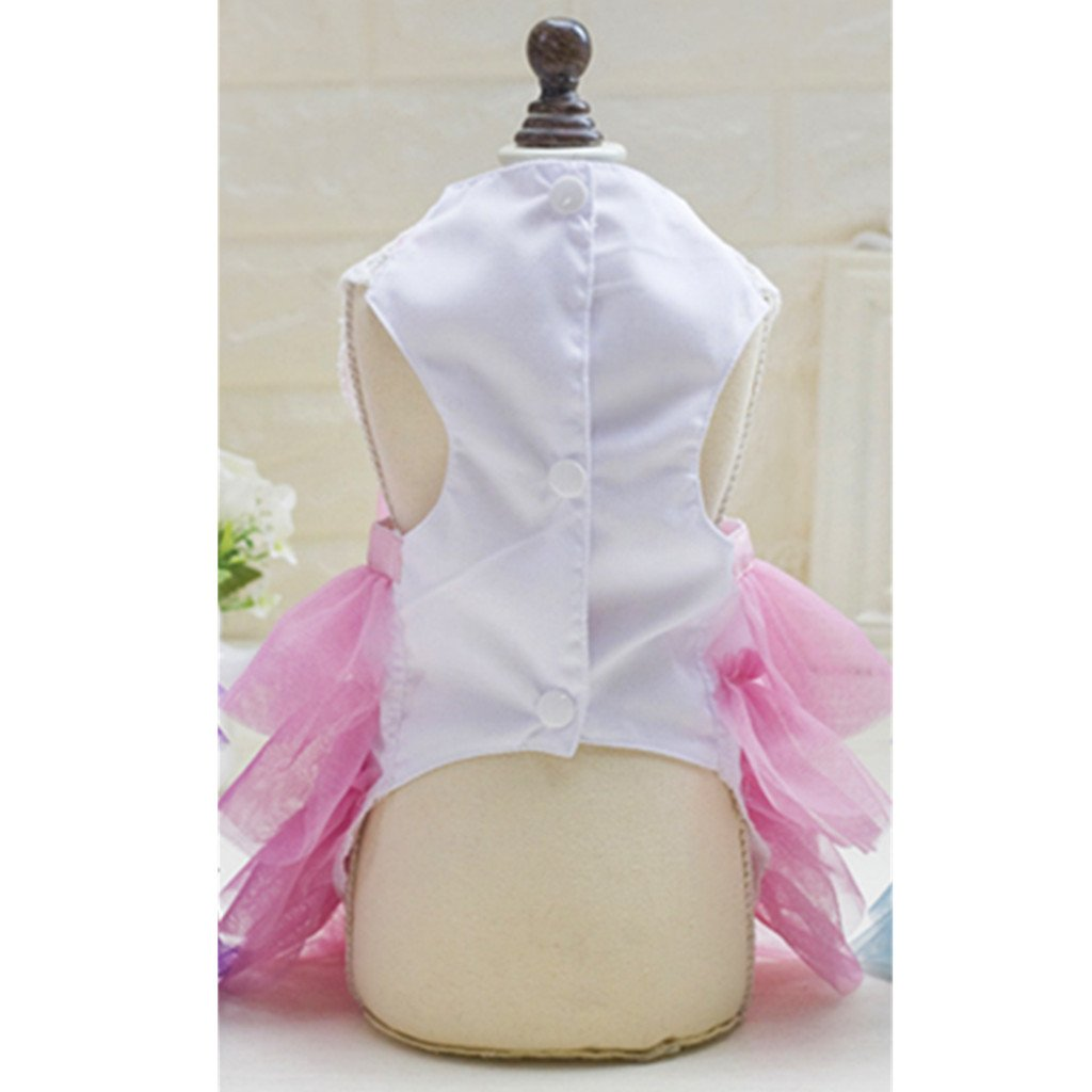 Sharplace Lovely Pink Pet Dog Cat Princess Dress Korean Style Pet Wedding Festival Party Outfit Pink M