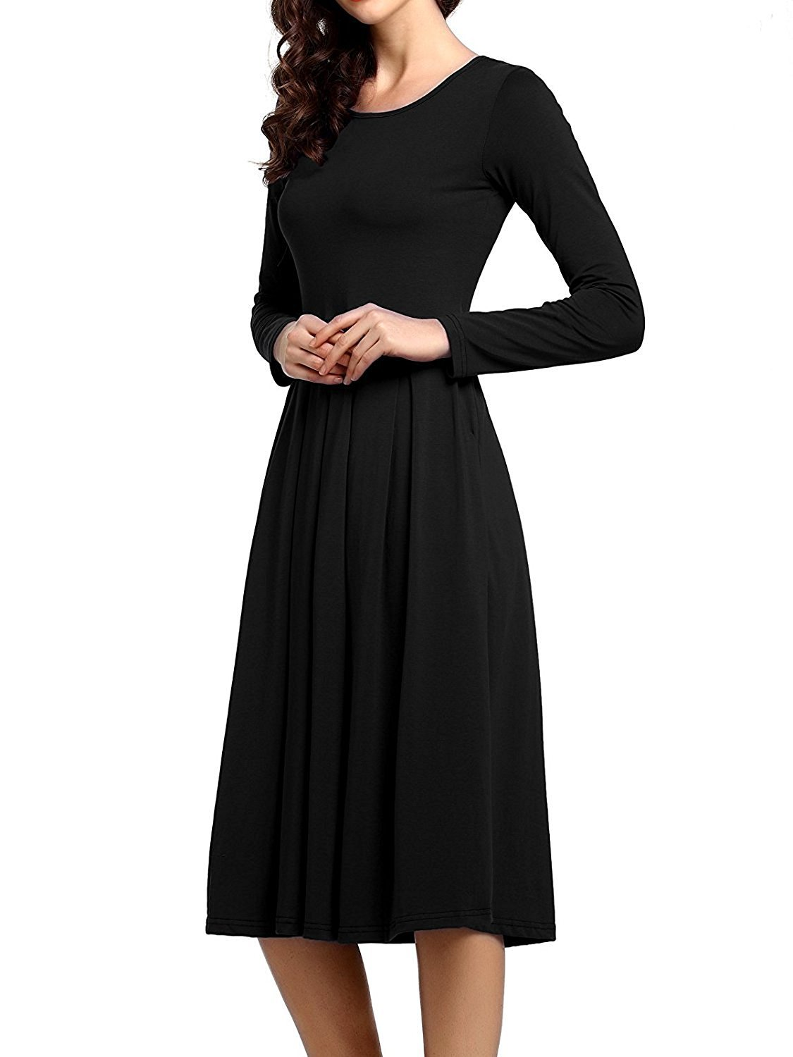 Beluring Womens Plain Scoop Neck Pockets Pleated Loose Swing Casual Midi Dress