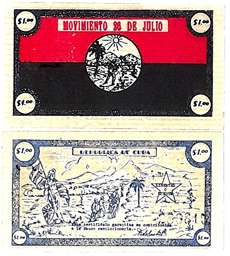 "1956 CU SUPER RARE CUBA REVOLUTION $1 DONATION ""BANKNOTE"" SIGNED FIDEL CASTRO! READ HISTORY! $1 About Uncirculated"