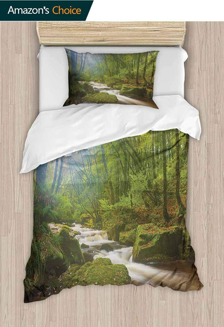 Woodland Printed Duvet Cover and Pillowcase Set, Forest Scene at Golitha Falls Nature Reserve on th, 100% Cotton Bedspread/ Quilt Set, 2 Pieces-1 Duvet Cover and 1 Pillow Shams, 47 W x 59 L Inches