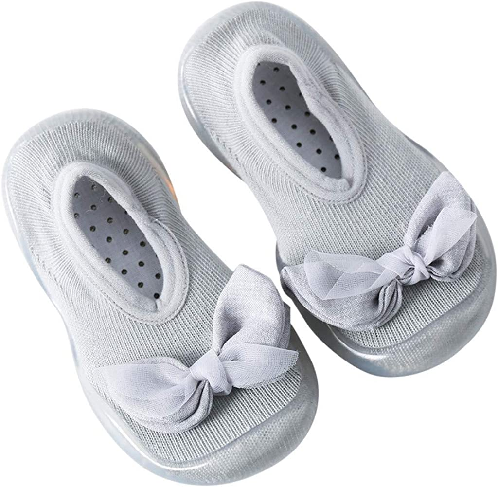 Suit for 0-6 Years Baby Boys Girls,Cute Rabbit Bowknot Soft Sole Rubber Shoes Socks Slipper Toddler Floor Shoes