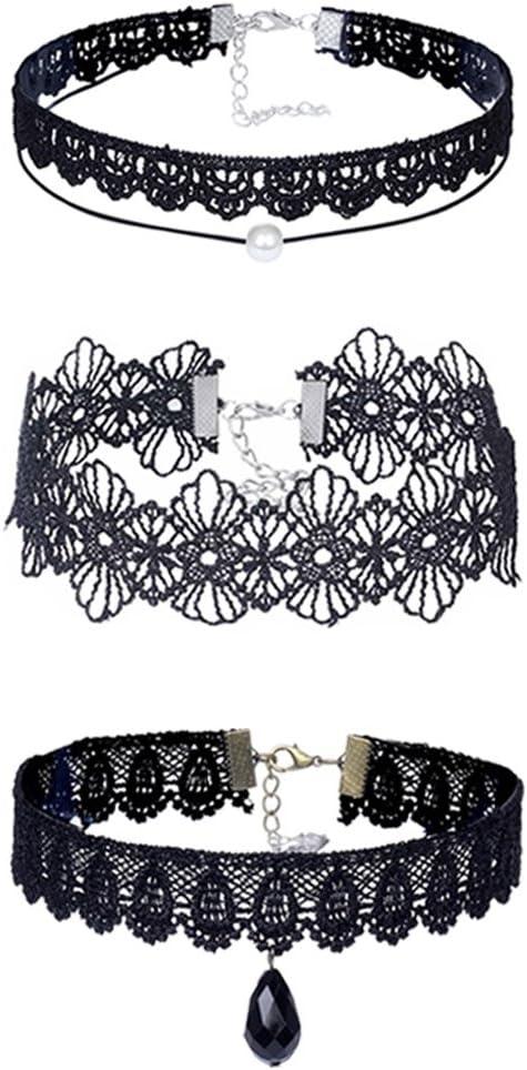 tpocean 3pcs Retro tatuaje Gargantilla Collar de encaje negro gótico Punk Collar Gargantilla diamantes de imitación perla colgante collar Prom Vestido de fiesta accesorios para las mujeres niñas