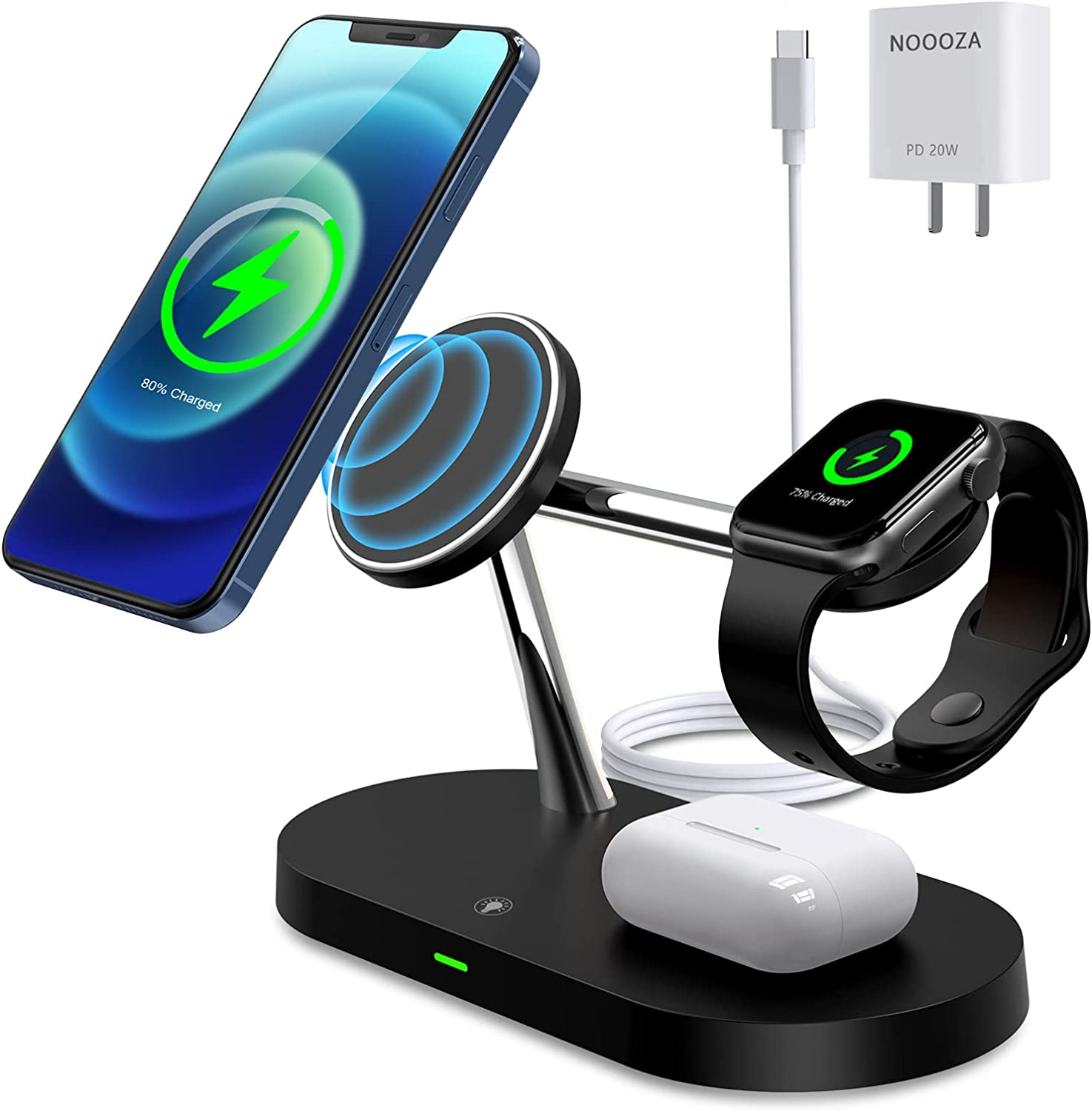 NOOOZA 3 in 1 Magnetic Wireless Charger Fast Charging Station Dock with 20 W QC3.0 Adapter Compatible with iPhone 12/12 Pro Max/Mini/AirPods Pro/AirPods 2 Magsafe Case iwatch Series, Black