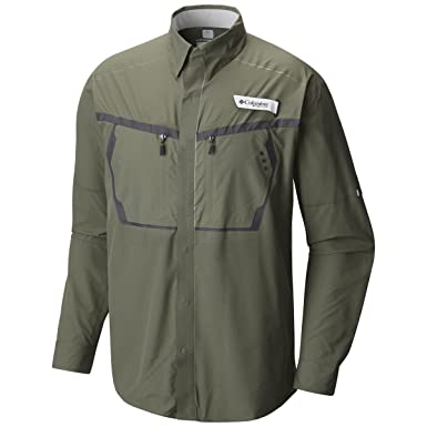 83e540e5cc8 Columbia Men's Force 12 Zero Woven Long Sleeve Shirt XLarge Cypress/Cool  Grey at Amazon Men's Clothing store: